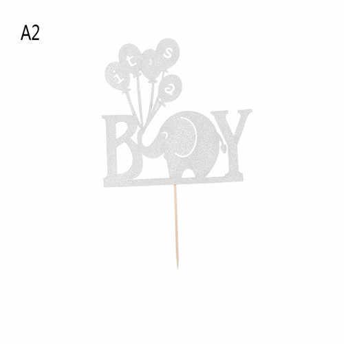 1 Pc nuevo bebé ducha bautismo de papel brillo Babyshower fiesta decoración favores elefante es un chico chica pastel Topper