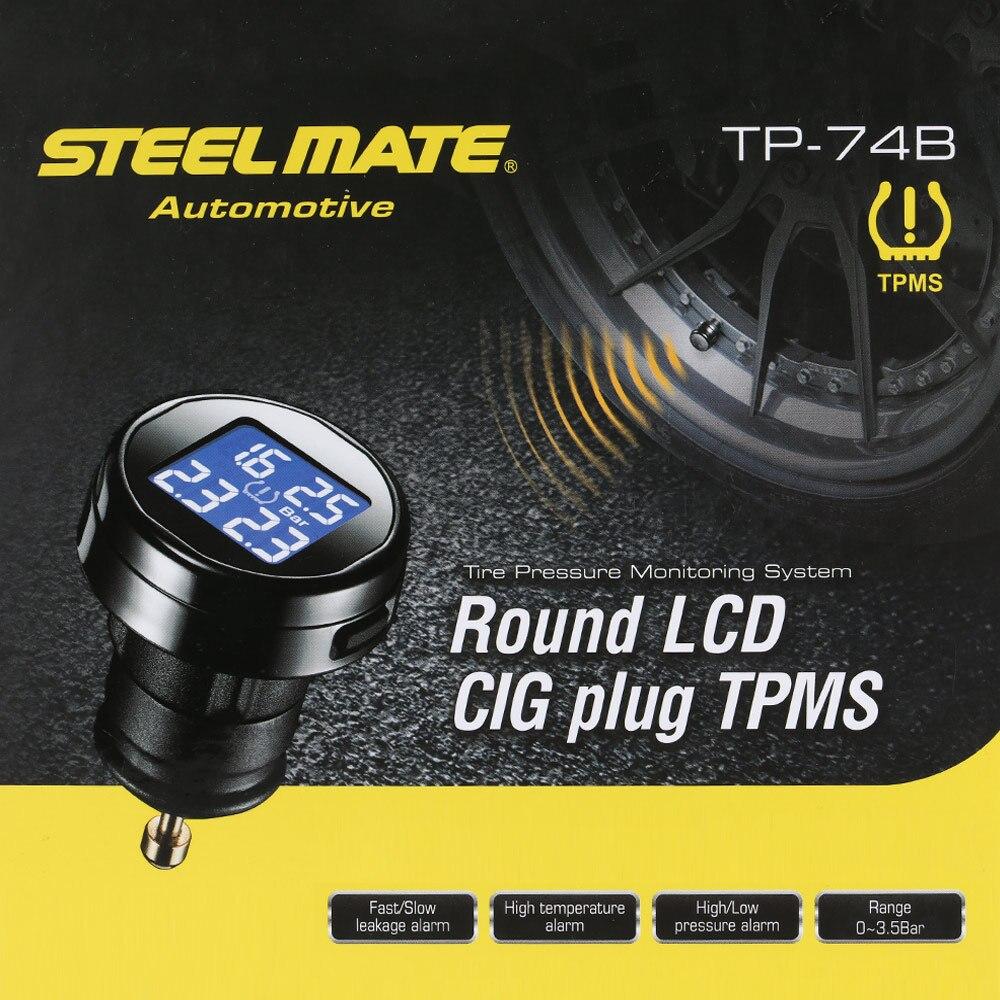 imágenes para Steelmate TPMS Sistema de Monitoreo de Presión de Neumáticos TP-74P/B 4 Sensores Inalámbricos BRICOLAJE Coche Sistema de Alarma con Pantalla LCD