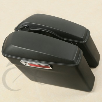 Matte Black Hard Saddle Bags + Latch keys Lid For Harley Touring Glide 2014-2018 Motorcycle