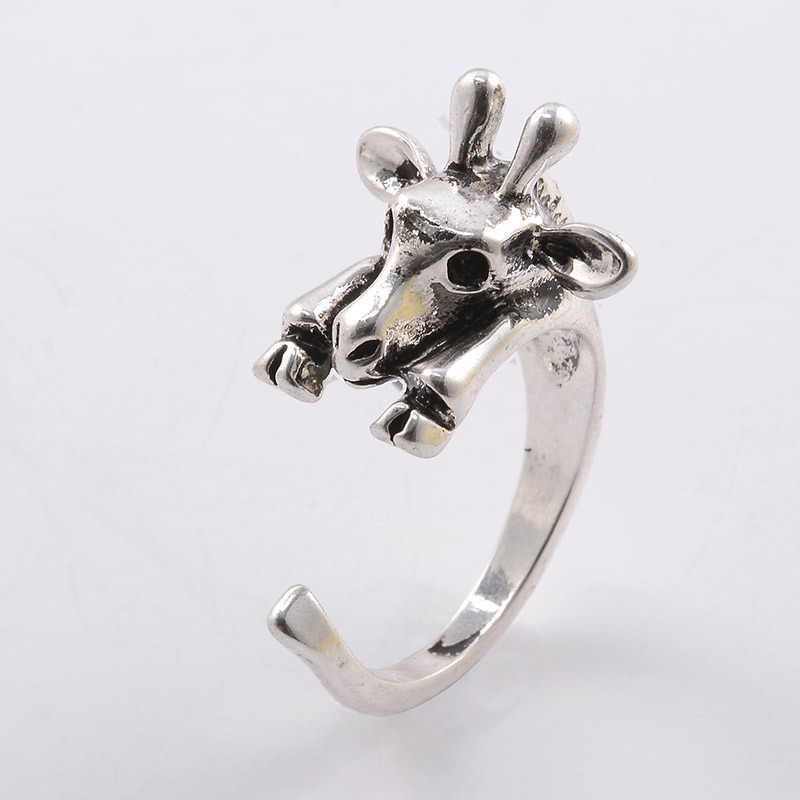 1Ps Handmade Vintage Hippie Giraffe Deer Ring Boho Chic Knuckle Animal Anel Masculimo Couple Rings For Women Men Jewelry