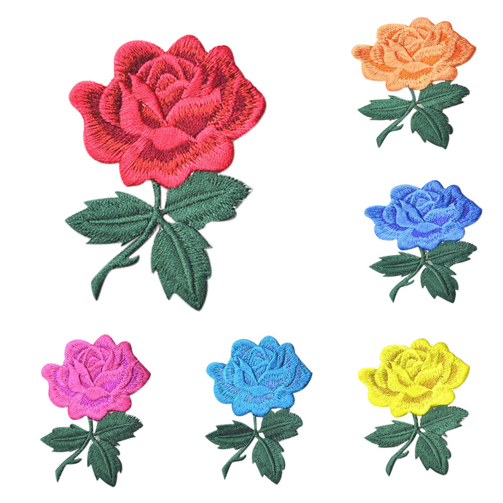 rose DIY badge patch embroidered appliqu sewing clothe sticker garment apparel X