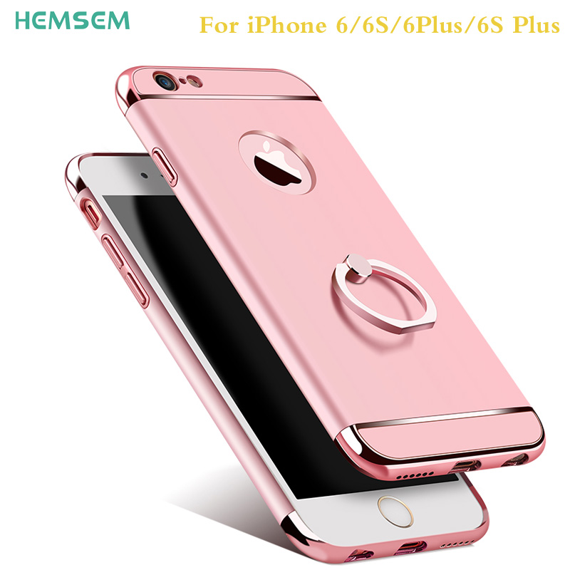 HEMSEM luxury thin shockproof armor cases for iPhone 6 6s plus 6plus case cover 3 in 1 hard PC shell ring on phone case design