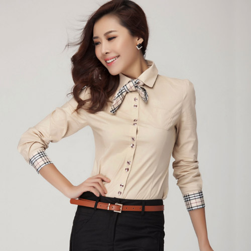 New Fashion Women S Tops Plaid Bow Tie Slim Shirt Blouse Office Lady Work Wear Formal Long Sleeve In Blouses Shirts From Clothing