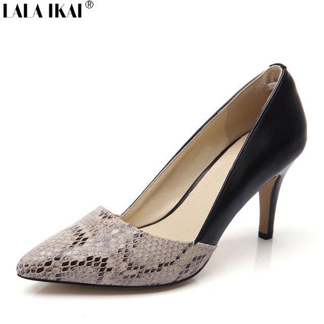 LALA IKAI Snakeskin Leather Women Pumps 2017 Sexy 6 cm 8 cm High ...