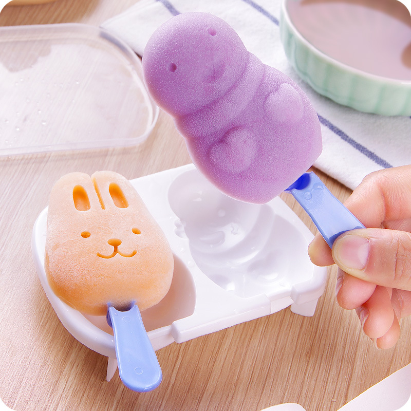 Creative Rabbit Snowman Ice Cream Makers Cute Popsicle Cassette Ice Box DIY Ice Cream Mold Random color ship Kitchen Tools image