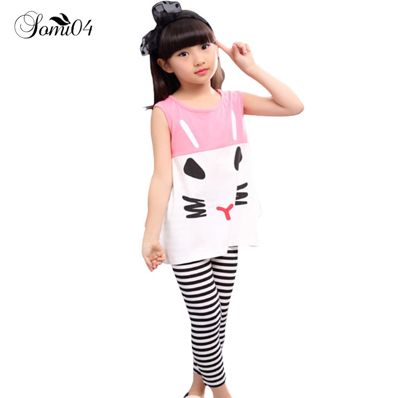 Children Clothing Pajamas Set 2018 Summer Vest Baby Girl Sets Striped Pants Cute Cat Kids Girls Pink Black Clothes for Casual