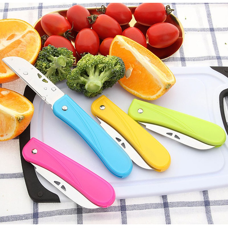 Pocket Pare Peel Kitchen Fruit Fold Knife Cutlery Cutter Peeler Picnic Lunch Bag Box Vegetable Cut Slice Keychain Camp