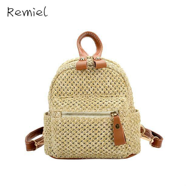 Straw Bag 2017 New Fashion Women Backpack Korean College Wind Wild Shoulder Bag Teen Girl Weaving Travel Mini Female Backpack