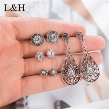 L&H 4Pairs/Set Elegant Crystal Earrings Vintage Antique Silver Geometric Statement Set For Women Fashion Jewelry Gift