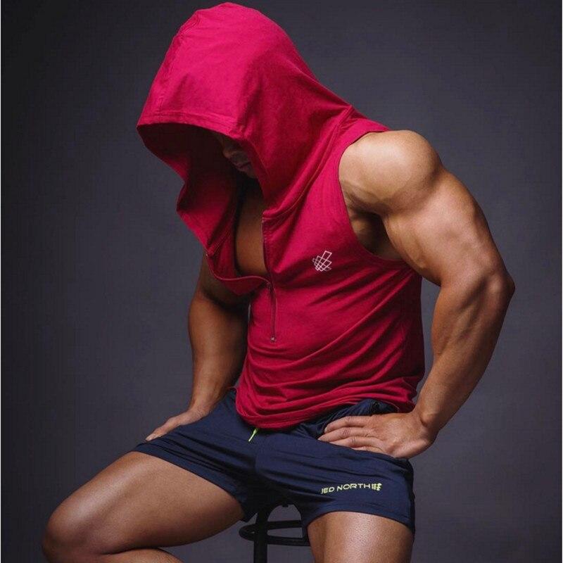 Muscle Aesthetics 2018 New Men's Vest Fitness Clothes Hoody Cotton Hoodie Men Sweatshirts Men's Sleeveless Tank Tops Casual