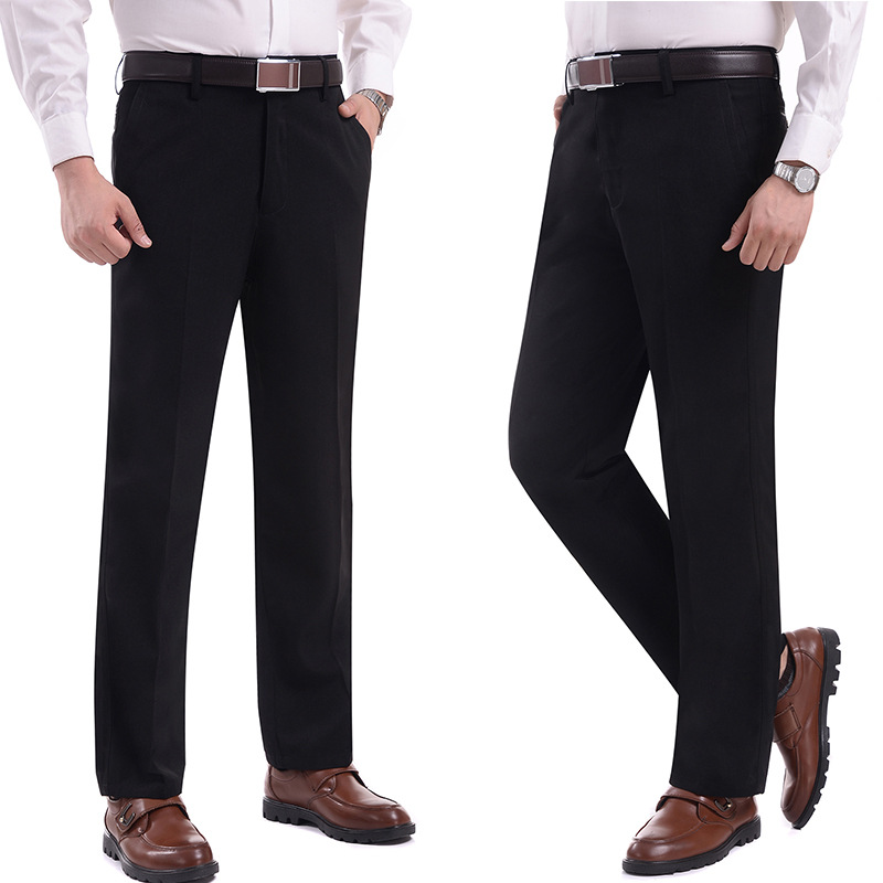Trousers Men Suit Pant Solid Color Thicked Business Casual No Ironing Winter Pant Loose Fashion Men Gentleman No Ironing MOOWNUC