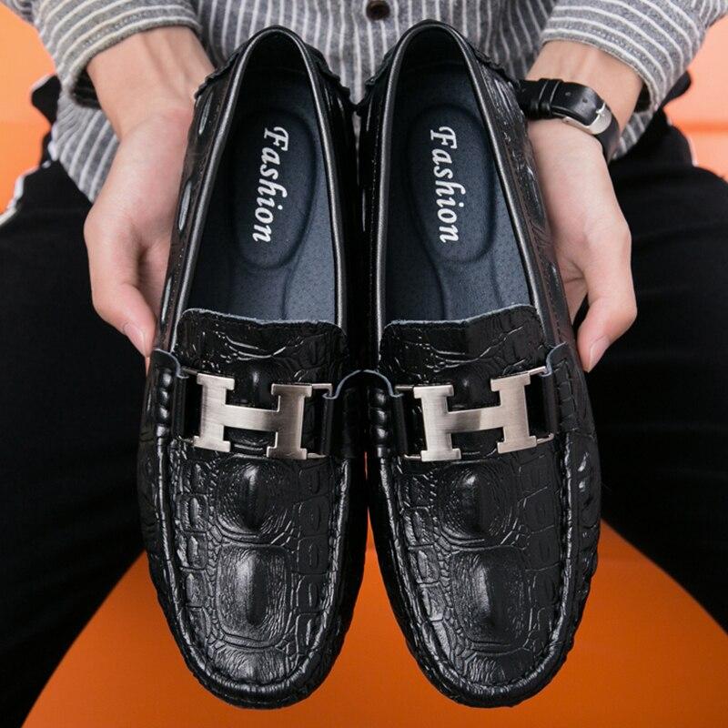 ZCDOMLER Brand Black Moccasins Men Crocodile Luxury Loafers Genuine Leather Driving Shoes Slip on Boat Shoes Men Loafer Shoes
