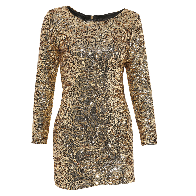 be314b9a52 Parthea manga larga vestido metálico del oro vestido de lentejuelas ...