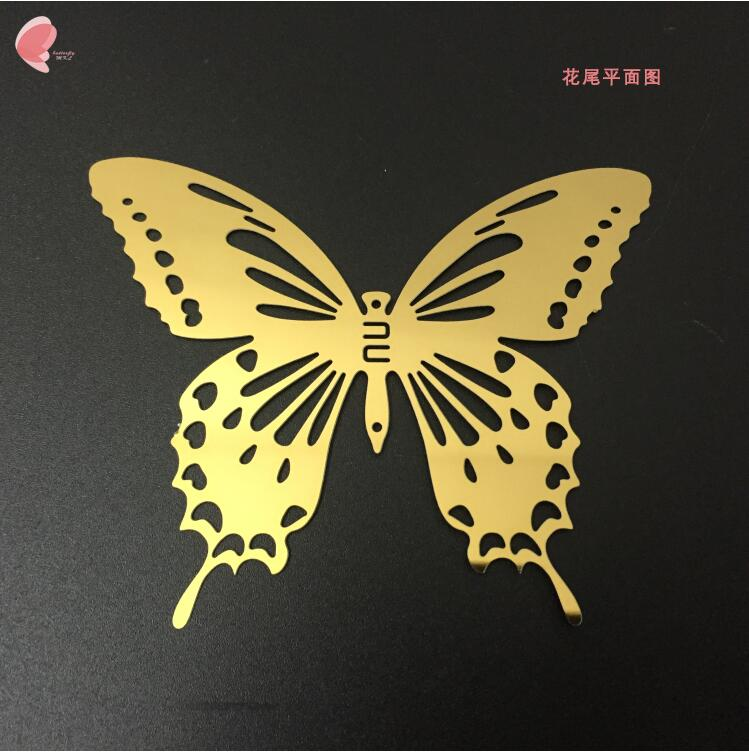 Free Shipping 10Pcs/lot Stainless Steel Gold Butterfly Wall Sticker ...
