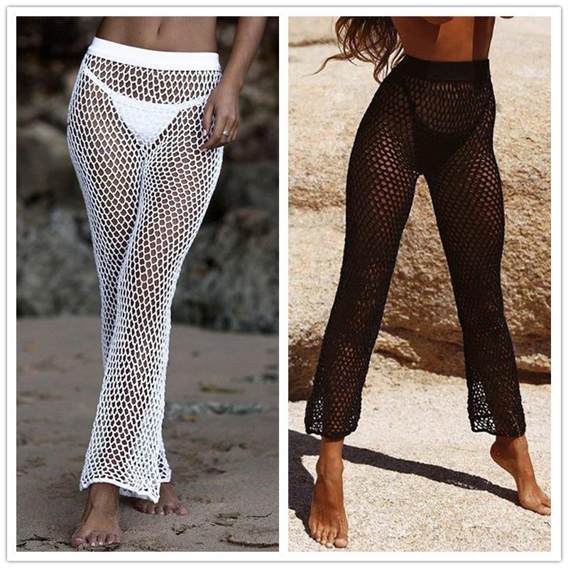 Vestido De Verano Tipo Tunica Para Mujer Traje De Bano Para Playa Pareo Pantalones Ahuecados De Punto Cover Up Aliexpress