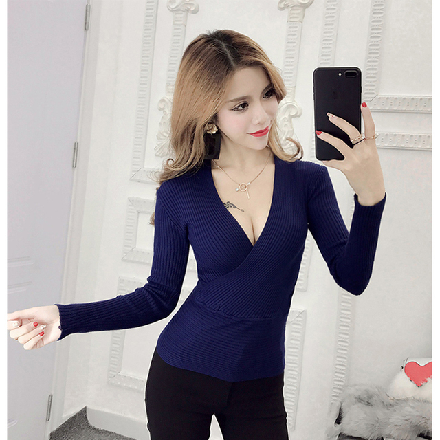 2018 New Sexy Sâu V-Cổ Áo Len của Phụ Nữ Áo Thun Casual Slim Đáy Áo Len Nữ Đàn Hồi Bông Dài Tay Áo Tops