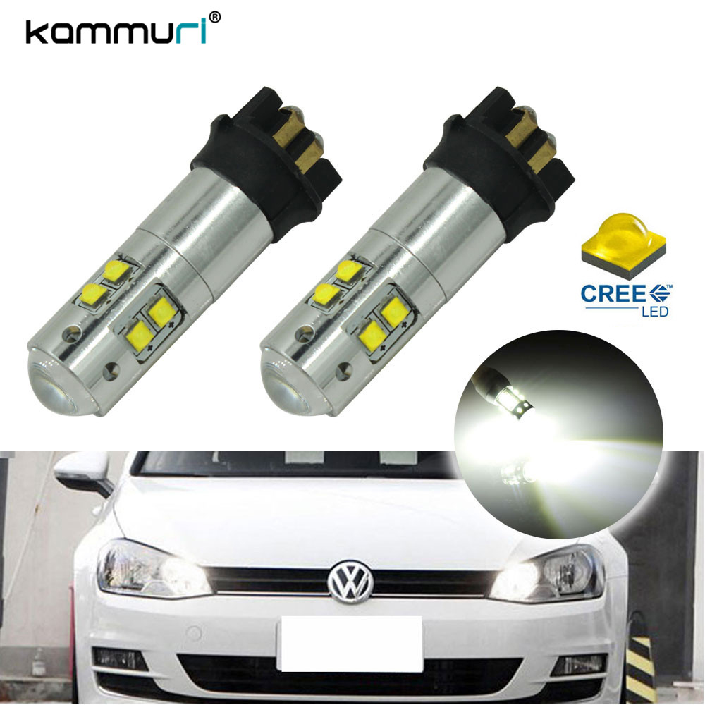 KAMMURI Xenon White Error Free 50W PW24W PWY24W LED Bulbs For 2013-up Volkswagen MK7 Golf or GTi  DRL Daytime Lights Day Light xenon white 1 50 36mm 6418 c5w canbus led bulbs error free for audi bmw mercedes porsche vw interior map or dome lights