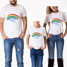 Family Look Cotton Mother Father Son Daughter Clothing Matching Outfit Rainbow Printing Summer Short Sleeve T Shirt Top Clothes family matching clothes summer fashion mother daughter dress father son short sleeve cotton tshirt patchwork striped family look