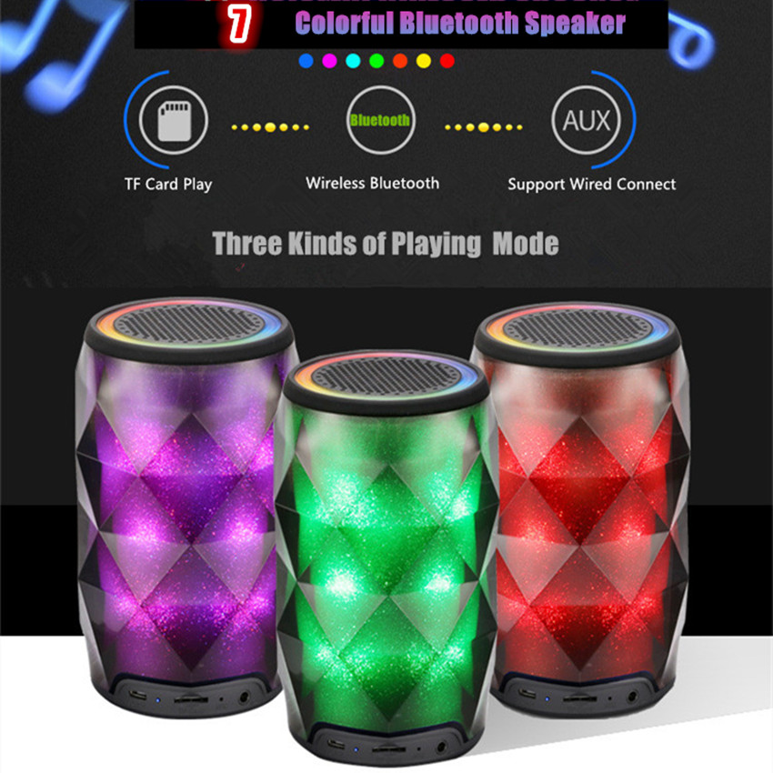 MINI Portable Bluetooth Speaker Touch Colorful Led Light TF Card Play Wireless Speakers Outdoor Sport Sound Box Stereo Subwoofer