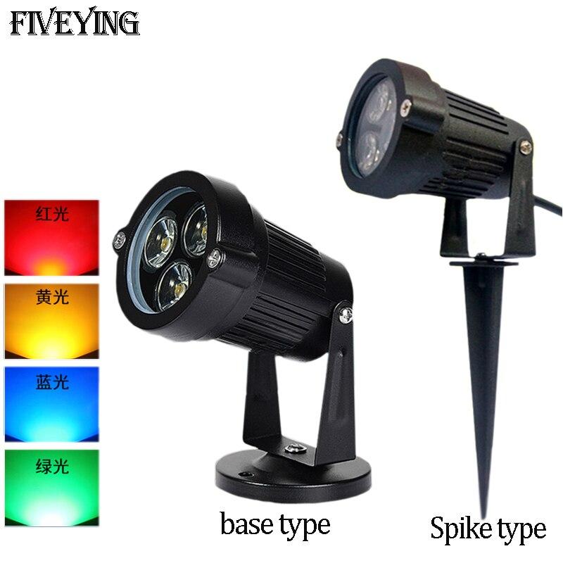Outdoor LED floodlights Lights 3W 9W Waterproof IP65 LED Garden Lamp Bulb Warm White Green LED Flood spike Spot Lights AC85-265V