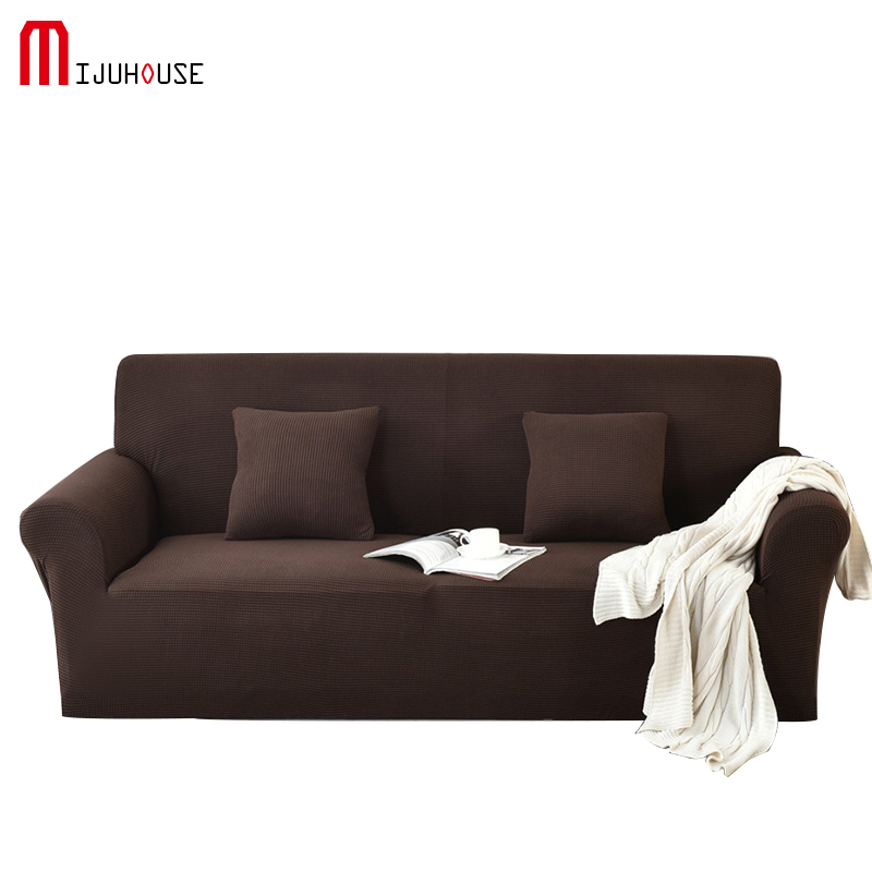 New Knitting Elastic Polar Fleece Sofa Cover Brown Solid Color All-inclusive Elasticity Covers Machine Washable Sofacover