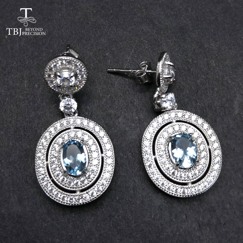 TBJ,Classic earring in 925 silver with 100% natural aquamarine,simple and elegant earring  for ladies & women with gift boxTBJ,Classic earring in 925 silver with 100% natural aquamarine,simple and elegant earring  for ladies & women with gift box
