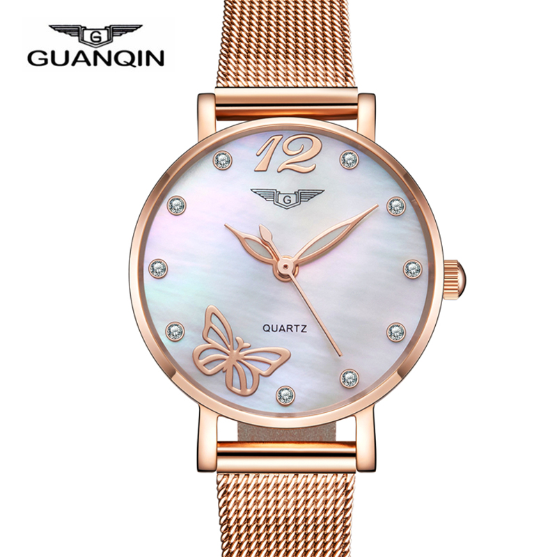 Women Dress Watches Top luxury Brand GUANQIN Women's Fashion Stainless Steel Bracelet Quartz Watch Ladies Watches Gold Watch guanqin fashion women watch gold silver quartz watches waterproof tungsten steel watch women business bracelet gq30018 b