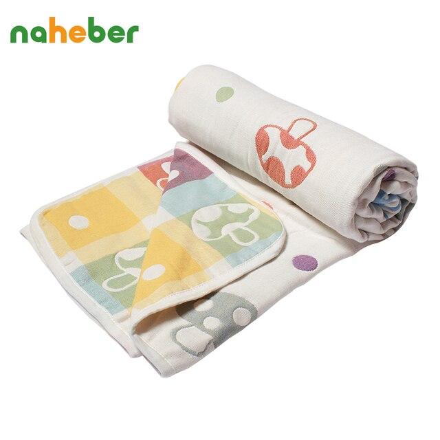 Naheber Soft Cotton Baby Blankets Cartoon Mushrooms Newborn Baby Swaddles 110x110cm 6 Layer Gauze AC Room Hold Wraps