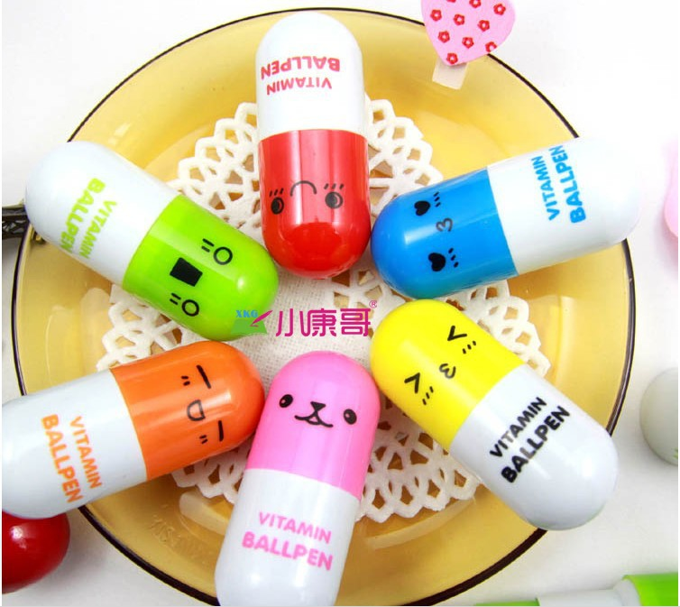 Hot sale 20pcs/lot, Ballpoint/ball pen,gift vitamin pill, novelty pen, size12x2.4cm multicolor, free Shipping