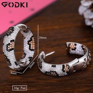 Image 5 - GODKI Luxury Leopard Design Cubic Zirconia Statement Hoop ต่างหูสำหรับงานแต่งงานดูไบต่างหูเครื่องประดับ 2019