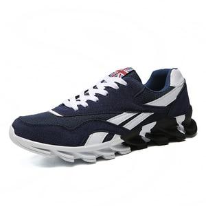Image 5 - Zapatillas de deporte de talla grande para hombre, zapatos informales transpirables con fondo de hoja ondulada, suela para masaje, zapatos de malla, Color rojo, 49 colores combinados, 15