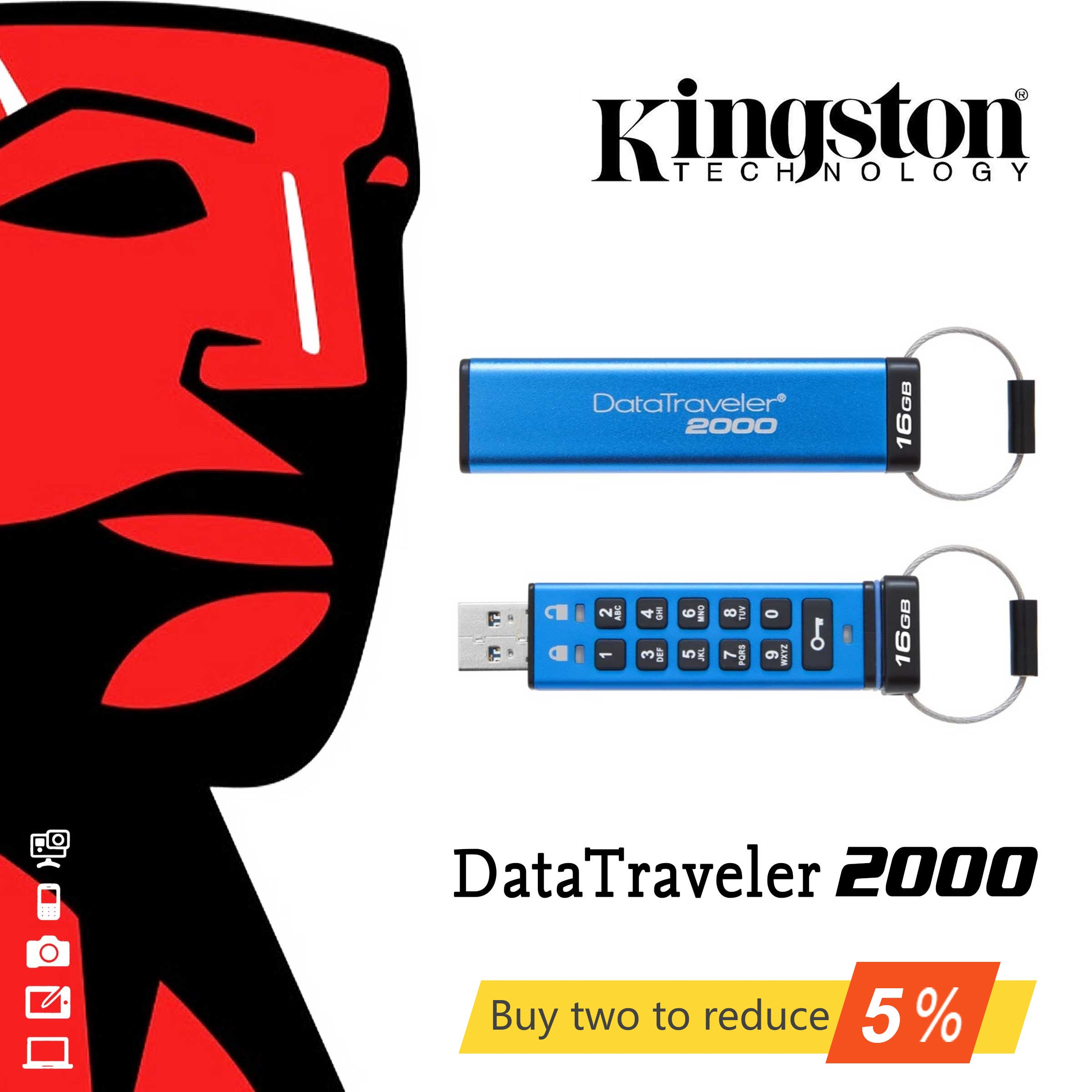 D'origine Kingston 16 GB 32 GB haute vitesse USB3.1 cryptage de classe entreprise d'affaires USB flash drive u disque DT2000 penDrives