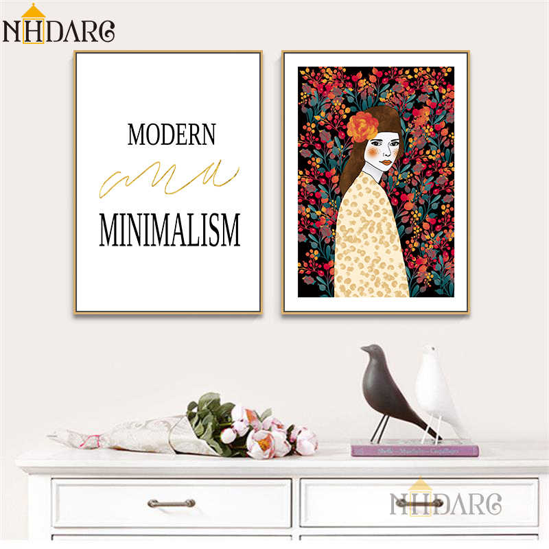 Nordic Modern Minimalism Vogue Flower Girl Posters And Prints Canvas Art Painting Wall Pictures For Living Room Home Decor