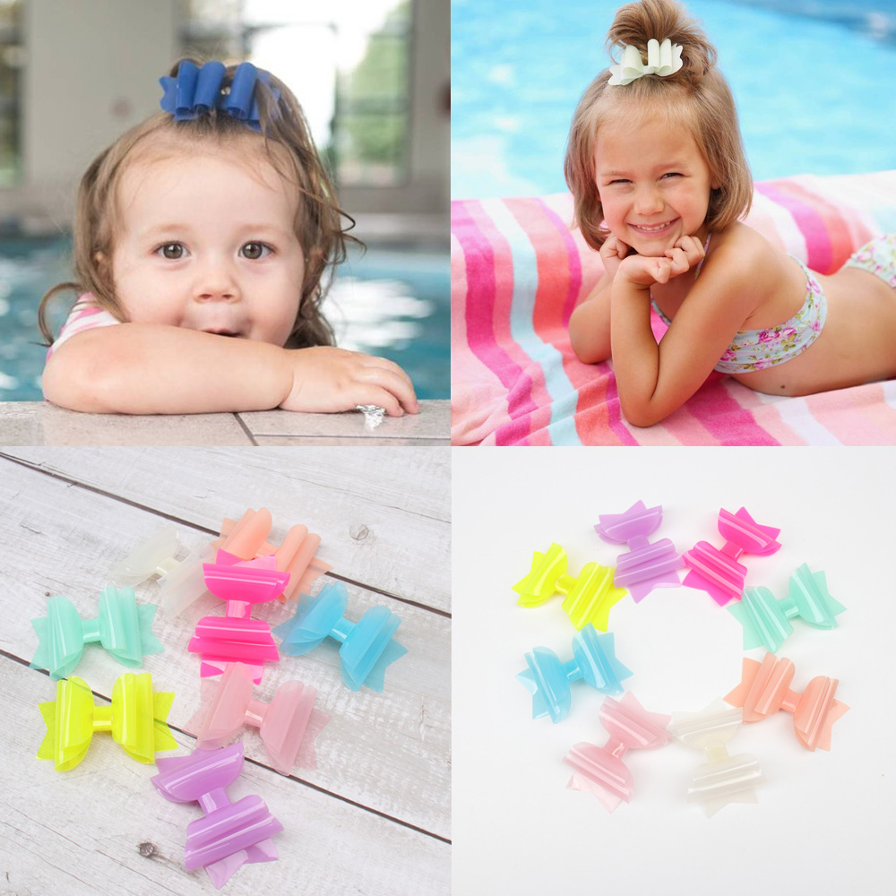 Ncmama Summer PVC Jelly Hair Bows For Girls Hair Clips 3'' Cute Hairpins Kids Princess Pool Bows Hair Barrettes Hair Accessories