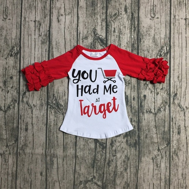 267507a340cef new Spring/winter red you had me at target car T-shirt top ruffle sleeves  shirt icing raglans t-shirt cotton baby girls clothes