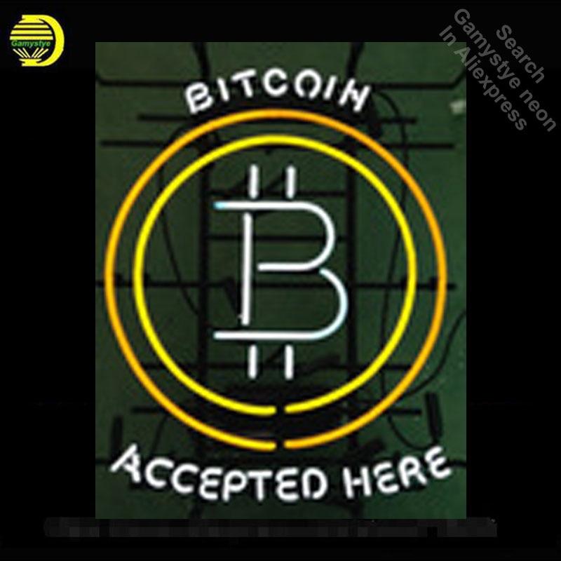 Bitcoin accepté ici enseigne au néon enseigne au néon enseigne au néon Tube de verre bière Pub artisanat Commercial signe emblématique néons