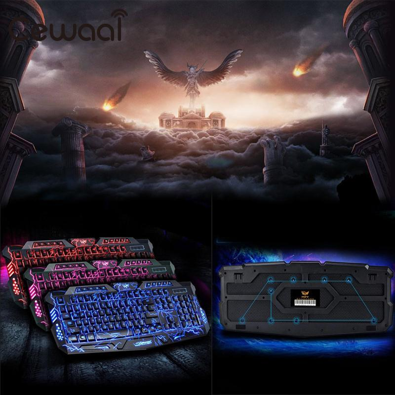 Cewaal 2017 New English Red/Purple/Blue Backlight LED Pro Gaming Keyboard USB Wired Powered Full N-Key For Computer