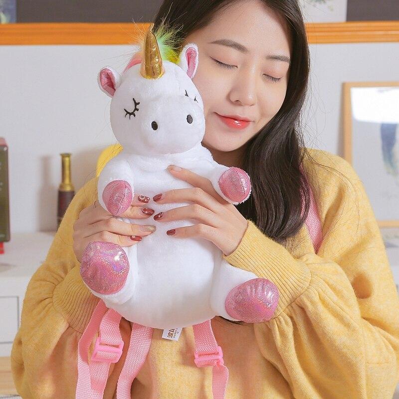 33*42cm Creative Kawaii Unicorn Plush Backpack Soft Cute Doll Plush Shoulder Bag Birthday Children Kids Bag Lovely Gift For Girl