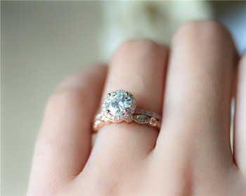 DUPUY 14K Rose Gold Engagement Ring Set 6.5mm Round Cut Forever Classic Ring Art Deco Full Eternity Diamonds Wedding Ring Set 4