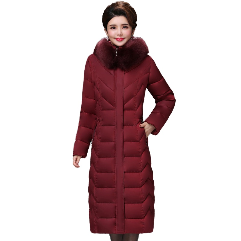European style 2019 High Quality Winter Jacket Women X long Fur Collar Hooded Female Plus Size