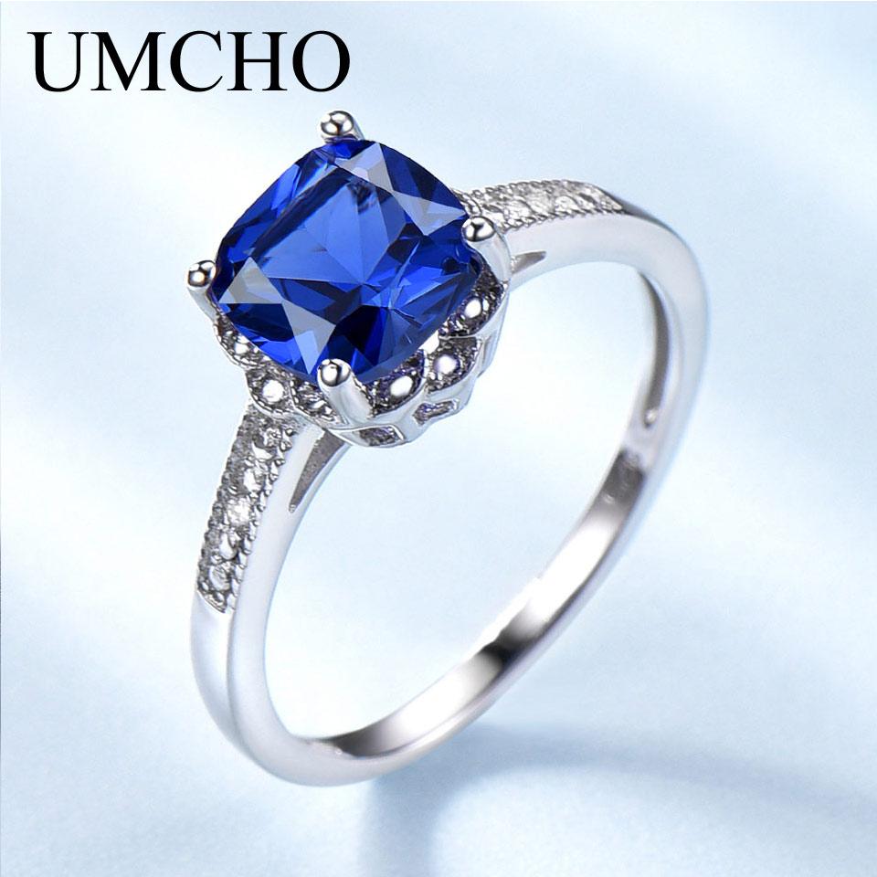 UMCHO Solid 925 Sterling Silver Ring Blue Sapphire Gemstone Rings For Women Tanzanite Birthstone Wedding Engagement Jewelry New mariposa en plata anillo