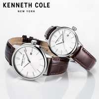Kenneth Cole Couple Watches Men Women Leather Brown Quartz Simple Buckle Waterproof Lovers Watches KC10030799