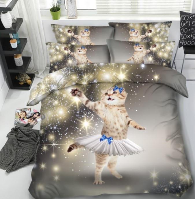 Cat 3D Утешитель установить постельное белье пододеяльник Кровать в мешке листов лист одеяло Doona покрывало Super King Queen Размер ПОЛНЫЙ TWIN 5 шт.