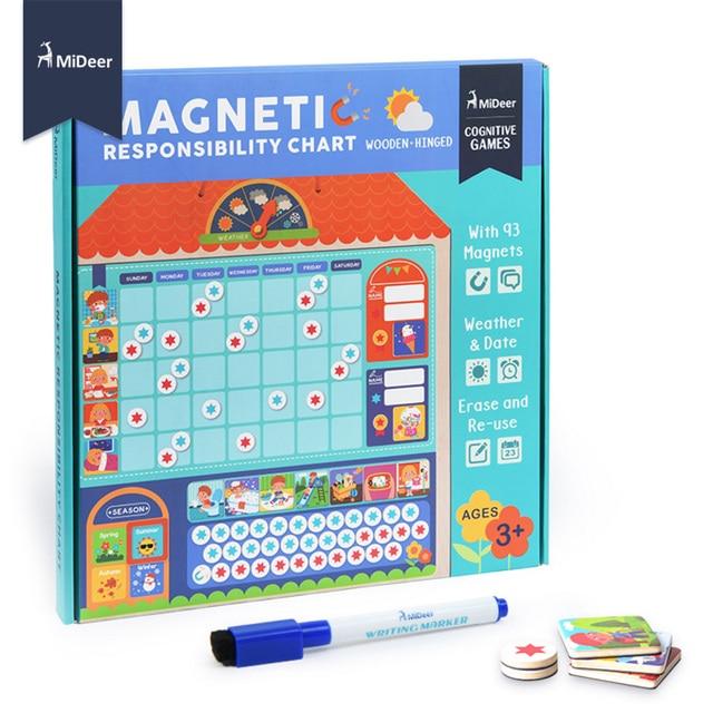 MiDeer Wooden Magnetic Reward Activity Responsibility Chart Calendar - kids chart