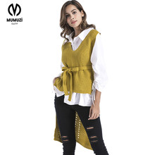 Фотография MUMUZI New Autumn Women Casual Wool Vest Female Sleeveless Sweater Sweater Vest V-neck short Front Long Back Cardigan Waistcoat