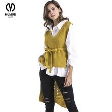 Фотография MUMUZI New Autumn Women Casual Wool Vest Female Sleeveless Sweater Sweater Vest V-neck short Front Long Back Cardigan Waistcoat