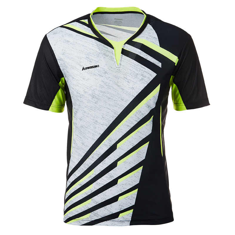 Kawasaki Badminton Shirt  Men T-shirt V Neck Short Sleeves Tennis T Shirt For Male Team Sports Sportswear ST-T1013