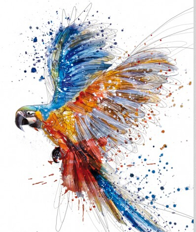 3d Persegi Diy Berlian Lukisan Indah Terbang Burung Beo Sebagai