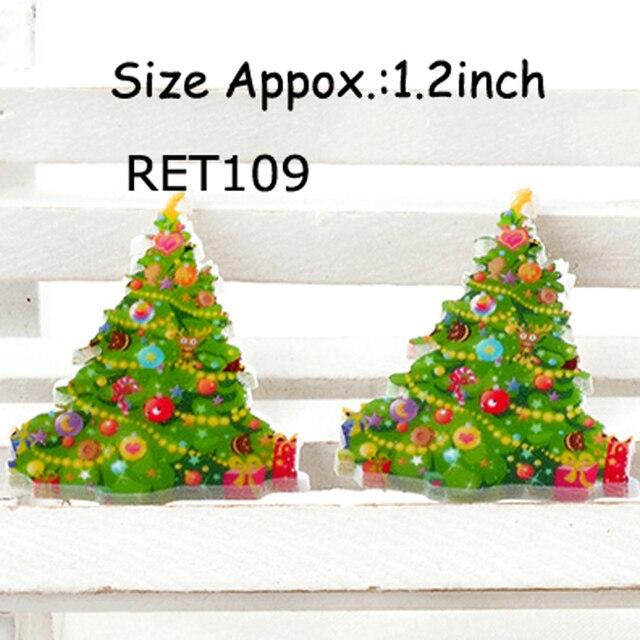 50pcs 32x27mm christmas tree shrinky dinks plastic flatback christmas resin cabochon resin planar ret109
