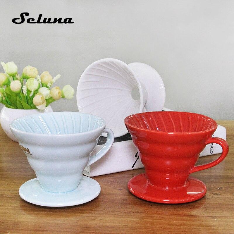 Filtre à café goutte à goutte en céramique filtre à café goutte à goutte V60 infuseur à café verser sur la cafetière filtre à cône goutte à goutte Permanent 1-2 tasse 4 tasse